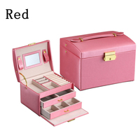 High Quality PU Leather Three Layer Double Drawer Jewelry Box Jewelry Display Gift Box For Storage