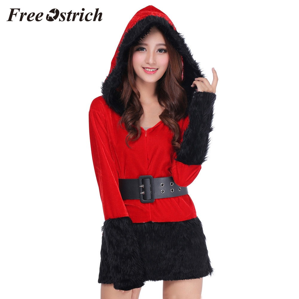 Free Ostrich 2019 Ladies Sexy Santa Costume Women Mrs Christmas Party Fancy Two Parts Dress Cosplay Suit New Year Wear Suit
