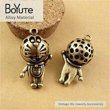 BoYuTe (10 Peças/lote) 35*20 MM Bronze Antigo Chapeado Liga de Zinco Materiais Oco Fortune Cat Pingente para Acessórios de jóias
