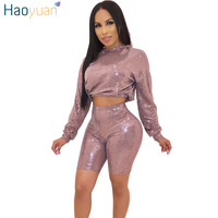 HAOYUAN Glitter Sequin Sexy 2 Two Piece Set Women Clothes Crop Hoodies Top and Bodycon Biker Shorts Sweat Suits Club Outfits