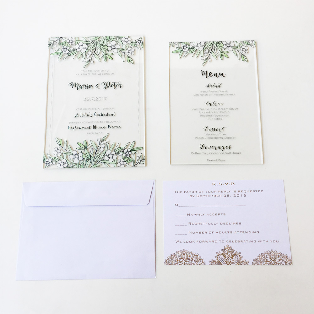 Beautiful Watercolor Wedding Invitation Set,Calligraphy Invite ...