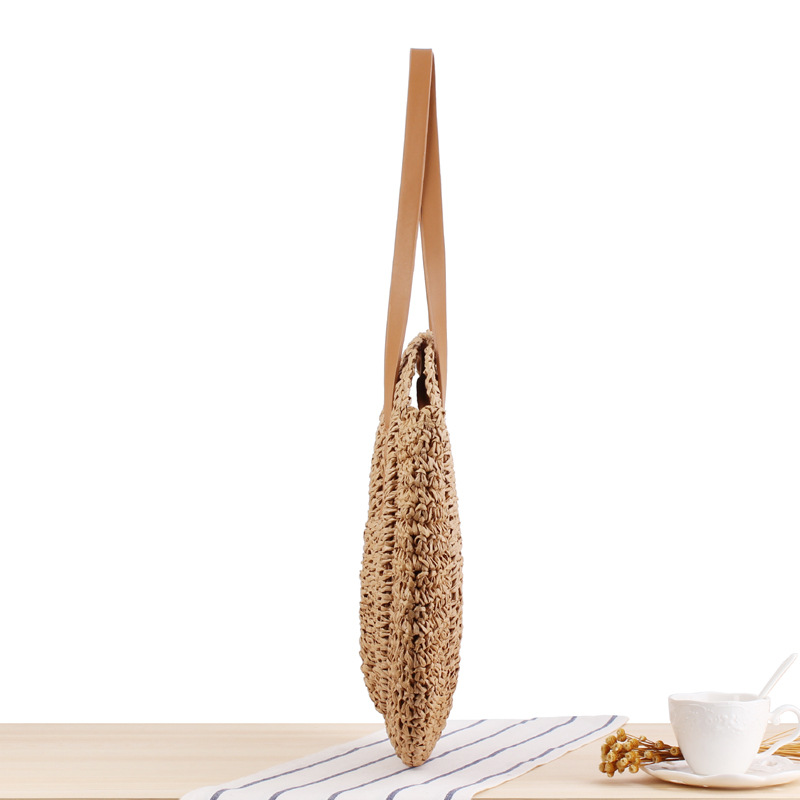 REREKAXI Hand-woven Round Woman's Shoulder Bag Handbag Bohemian Summer Straw Beach Bag Travel Shopping Female Tote Wicker Bags 7