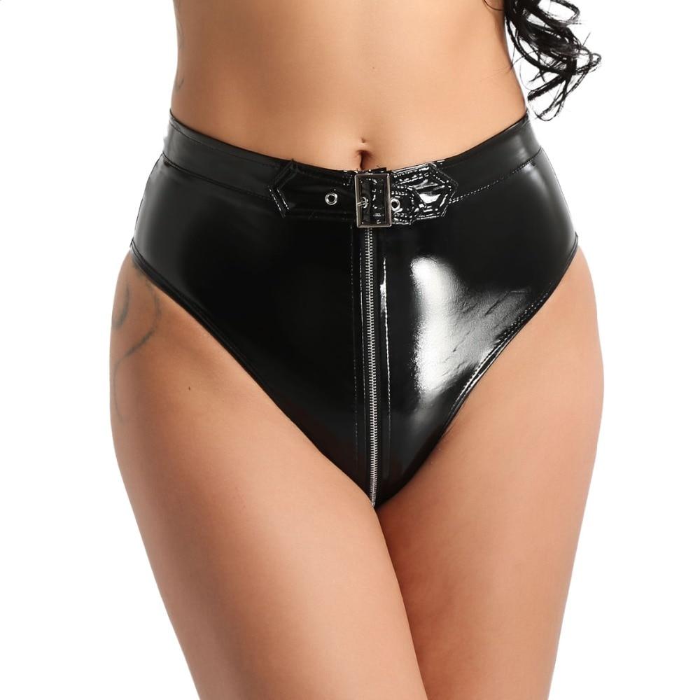 Night Womens Bodysuit Underwear Womens PVC Lingerie Clothes Wet Look Metal Look