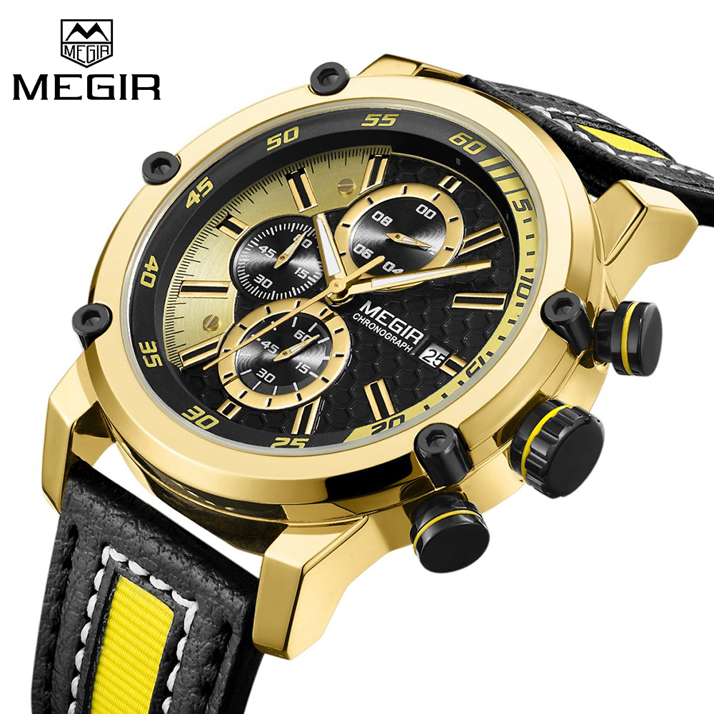 MEGIR Luxury Brand Gold Men's Military Quartz Wristwatch Fashion Casual Dress Business Sport Watch Men Clock Relogio Masculino new 2017 classic men quartz watch luminous leather band wristwatch fashion casual dress business sport clock relogio masculino