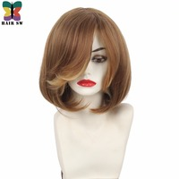 HAIR SW Short Straight Layered Bob Synthetic Wig Bangs With Flip Out Sides Classic Elegance Women's Wig Ginger Blonde/Auburn