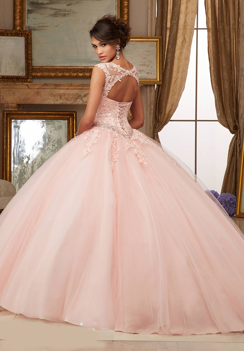 Cap Sleeves Ball Gown Peach Quinceanera Dress Lace Appliques