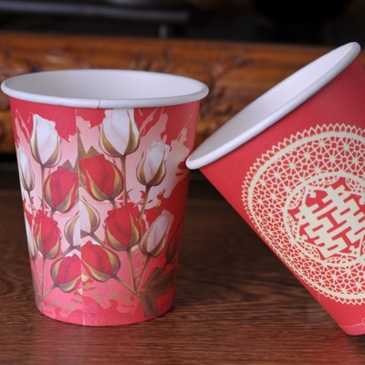 Free shipping 96pcslot Classic style wedding disposable paper cups thickening festive wedding paper cups