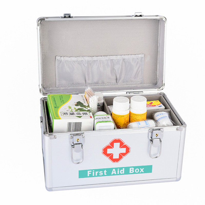 Aluminium Alloy First Aid Emergency Kit Survival Box Empty Medicine Storage Box Multi Layered Family Medical Carrying Case