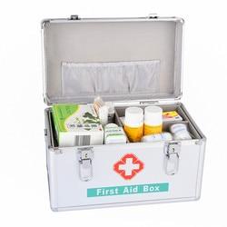 Aluminium Legierung Erste Hilfe Notfall Kit Überleben Box Leere Medizin Lagerung Box Multi-Layered Familie Medizinische Tragetasche