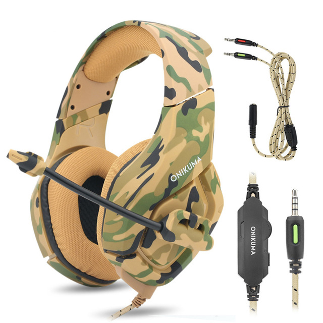 K1 Bass Gaming Headphones Camouflage PS4 Headset Casque Game Headphone for Computer Game with Mic for Phone Xbox One Laptop camouflage gaming headset ps4 pc computer xbox one gamer headset game headphone with microphone for computer moblie phone laptop