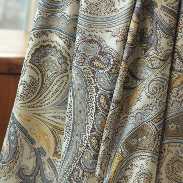 Curtains Ideas blue and gold curtains : Aliexpress.com : Buy White Gray Blue Gold Rayon Paisley Jacquard ...