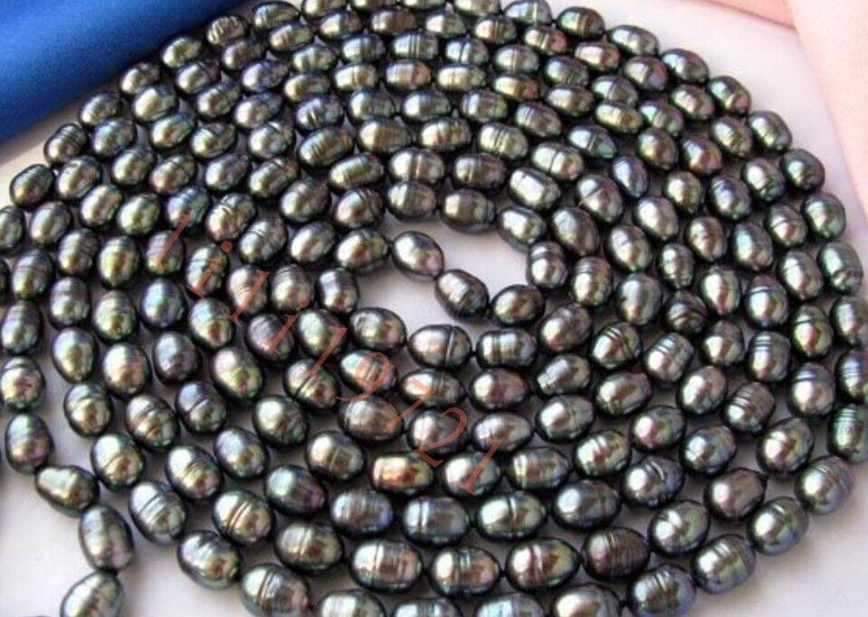 Collier de perles de culture deau douce de riz noir 10-11mm 100Collier de perles de culture deau douce de riz noir 10-11mm 100