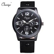 Chaxigo 2016 relojes hombre marca de Topo de Quartzo Relógio homens de Negócios Informais De Couro Analog Watch dos homens Relogio presente