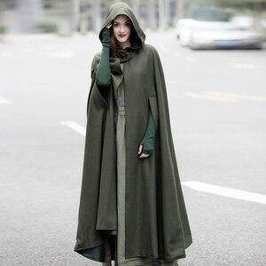 Image 3 - Casaco com capuz medieval feminino, fantasia vintage gótica com capa sobretudo 2020