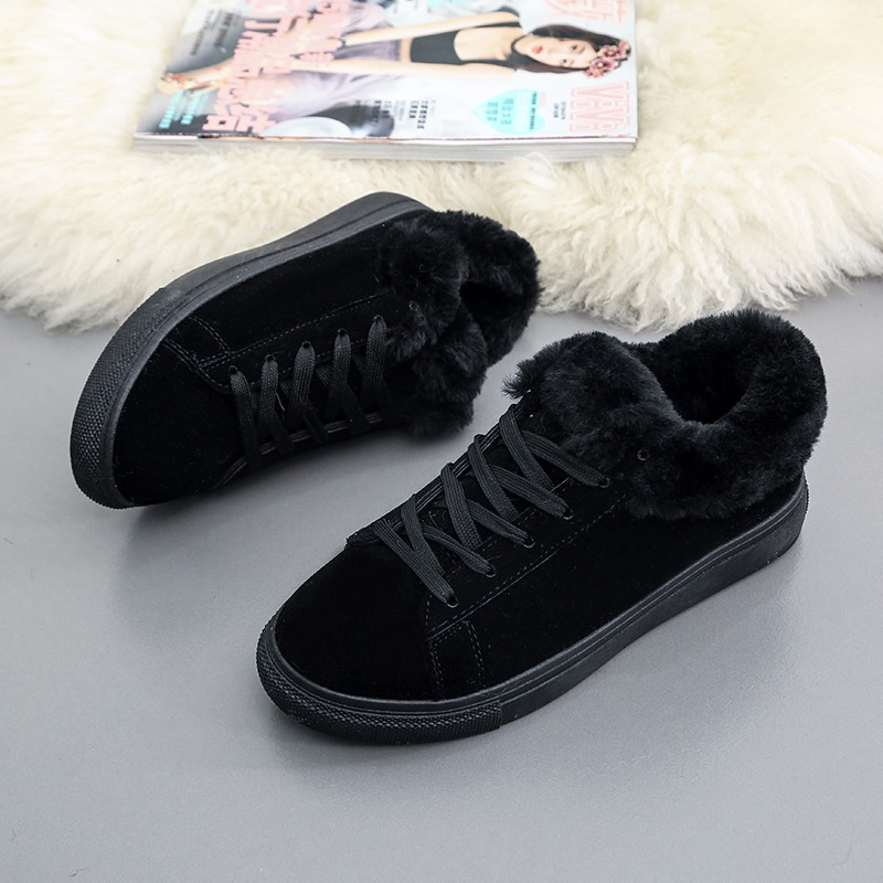 Women Flats For Winter Plush Warm Shoes Casual Flat Heels Lace Up Ladies Shoes Size 35-40 Black Gay Pink Fashion Fur Shoes NX5 (15)