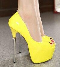 Fashion sexy single shoes metal thin heels open toe women's shoes platform high-heeled shoes 16cm shoes
