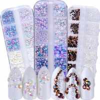 12 rejillas sirena AB Diamante de imitación perla Metal estrella corazón diamante plano no Hotfix decoración de uñas HERRAMIENTA DE MANICURA JI090