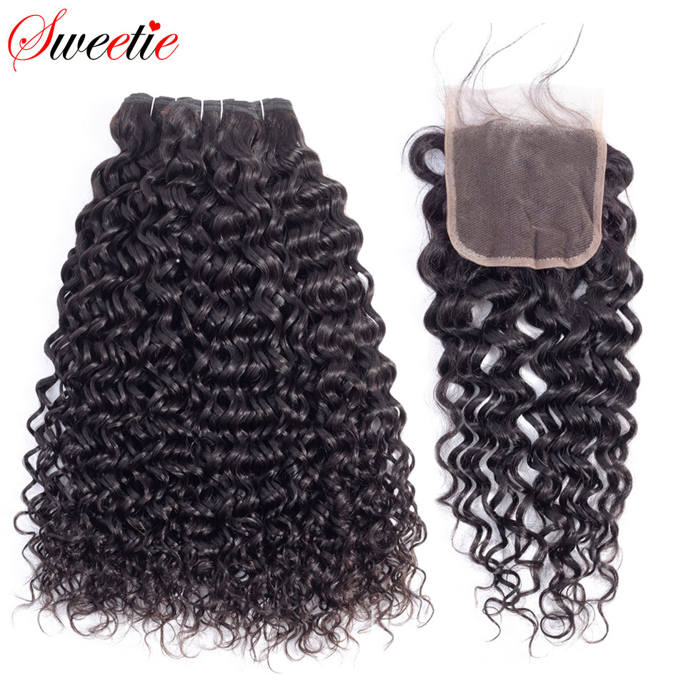 Sweetie Water Wave Bundles With Closure 3 Bundles Human Hair Weave Free Part Non Remy Brazilian Hair Weave Bundles With Closure-in 3/4 Bundles with Closure from Hair Extensions & Wigs    1