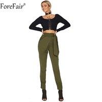 ForeFair שרוך מותניים גבוהים מכנסיים עיפרון מכנסיים נשים כיסי רחוב גבוה שחור Kahki הצבא הירוק