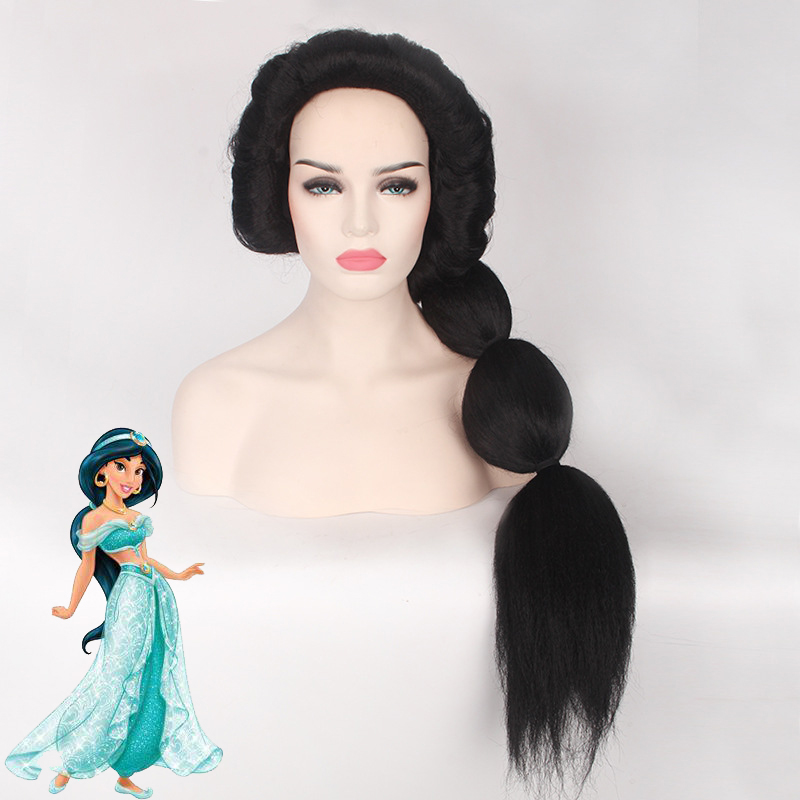 Hot Cartoon Anime Jasmine Princess Cosplay Wigs Women/Girls Halloween Play Wig Party Stage High Quality Black Long Hair New