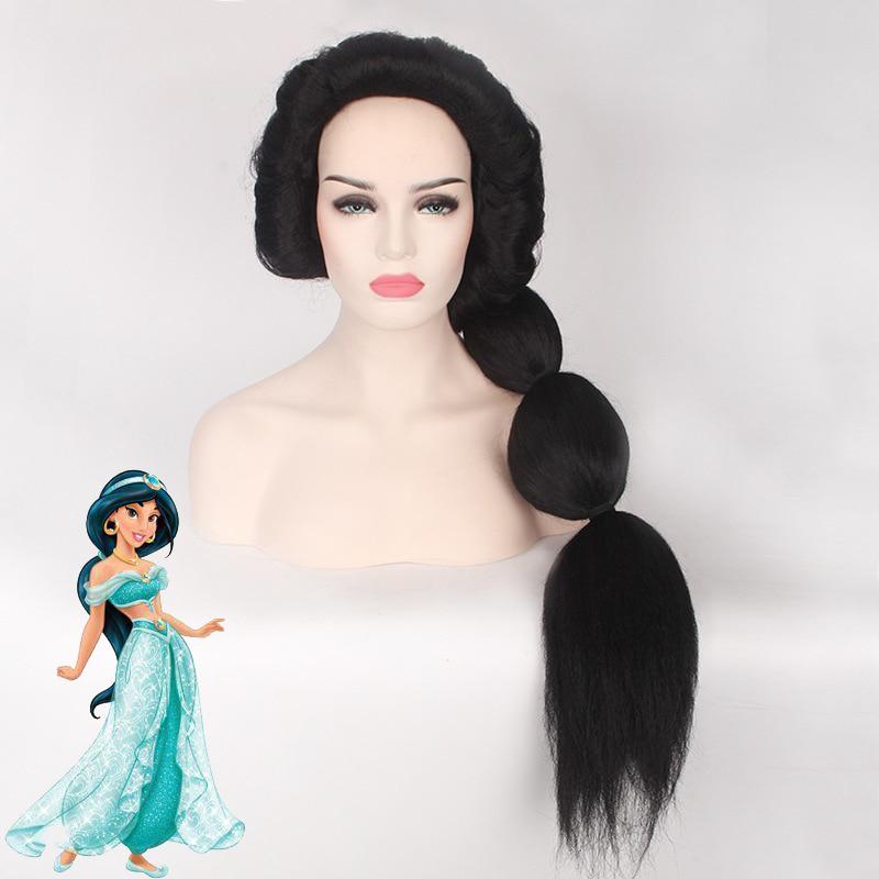 Hot Cartoon Anime Jasmine Princess Cosplay Wigs Women/Girls Halloween Play Wig Party Stage High Quality Black Long Hair New