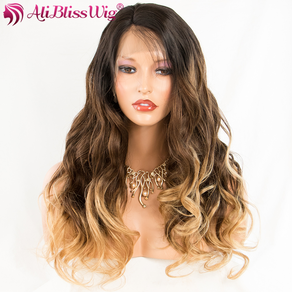 Ombre Body Wave Lace Front Human Hair Wigs 3 Inch Brazilian Remy Hair Curly Medium Cap Swiss Lace Bleach Knots AliBlissWig