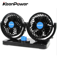 Keenpower 12V DC Rotary Electric Car Fan 2 Speed Double Head Crucible Car Air Conditioner Portable