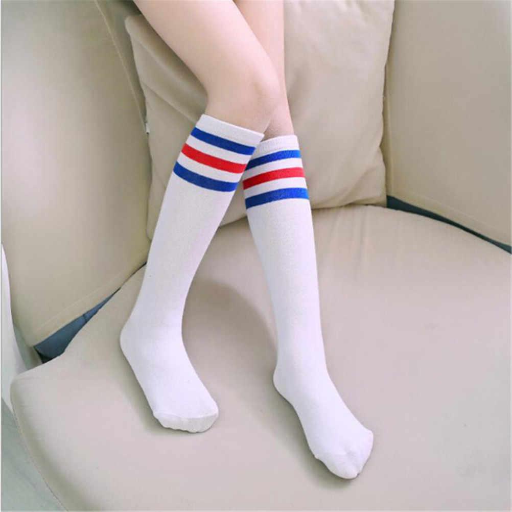 サッカーストライプ綿スポーツオールドスクール白ソックスハイソックス子供ベビーロングチューブ脚暖かい靴下