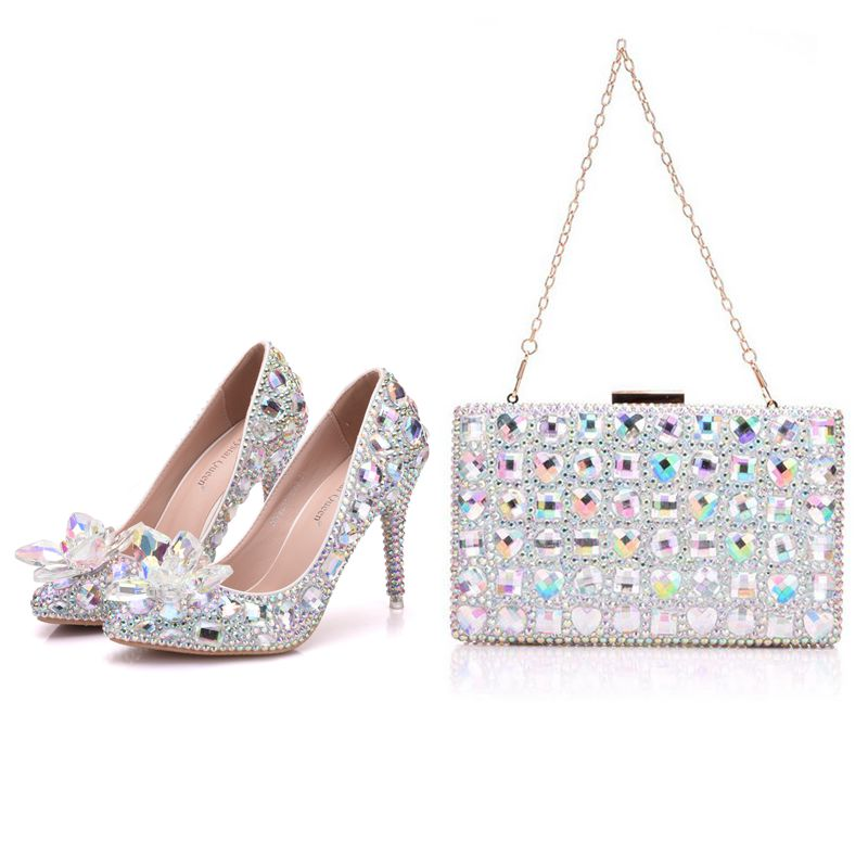 Crystal Queen High Heel Pointe Toe Women Wedding Shoes With Matching Bags Bride Payty Dress Shoes Purse Crystal Flower 9CM Pumps aidocrystal luxury handmade crystal sunflower high heel women italian shoes with matching bags