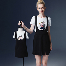 new summer cute mother and daughter suspend dress girls sets tee dress set family clothing matching outfits fitted set