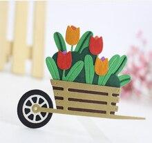 AZSG Wheelbarrow Potted Plant Cutting Dies For DIY Scrapbooking Card Making Decorative Metal Die Cutter Decoration