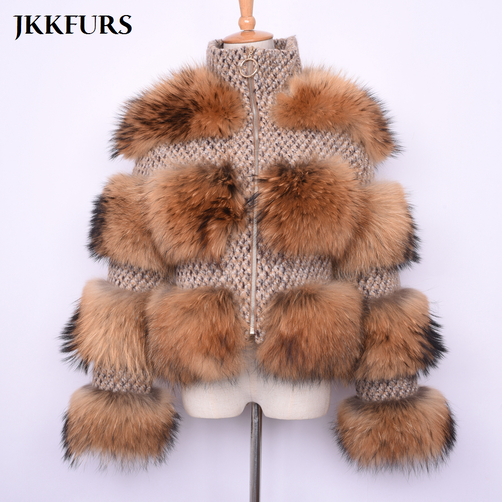 New Women s Real Raccoon Fur Coat Winter Fashion Thick Warm Fur Jacket Genuine Natural Fur