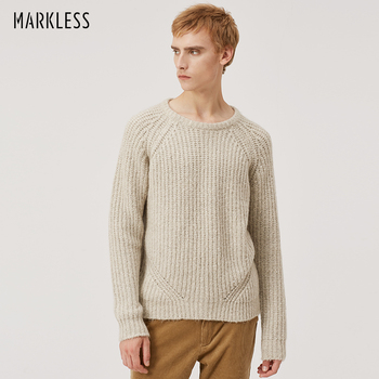 Markless Loose Pullover Sweater Men 2018 Winter Warm O-neck Sweaters sueter hombre Mens Crewneck Knitted Sweater MSA8704M markless o neck sweater men 100% cotton winter warm stripe sweaters pullover men christmas pull homme sueter hombre msa3710m