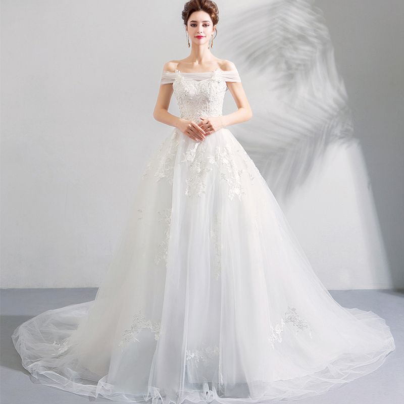 Gorgeous 2019 New Wedding Dresses Off The Shoulder Appliques Beaded A-line Country Garden Bridal Gowns Chapel Train Wedding Gown