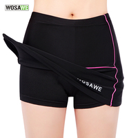 WOSAWE Womens Girls Cycling Bike Bicycle Mini Skirt Pleated Skirt Shorts Pants Black