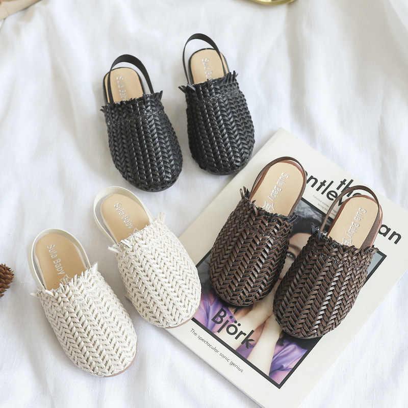 Yaz çocuk sandaletleri kızlar Için Örgülü Sandalet Moda Yürümeye Başlayan bebek PU Deri plaj ayakkabısı Yumuşak Çocuk Rahat prenses Terlik