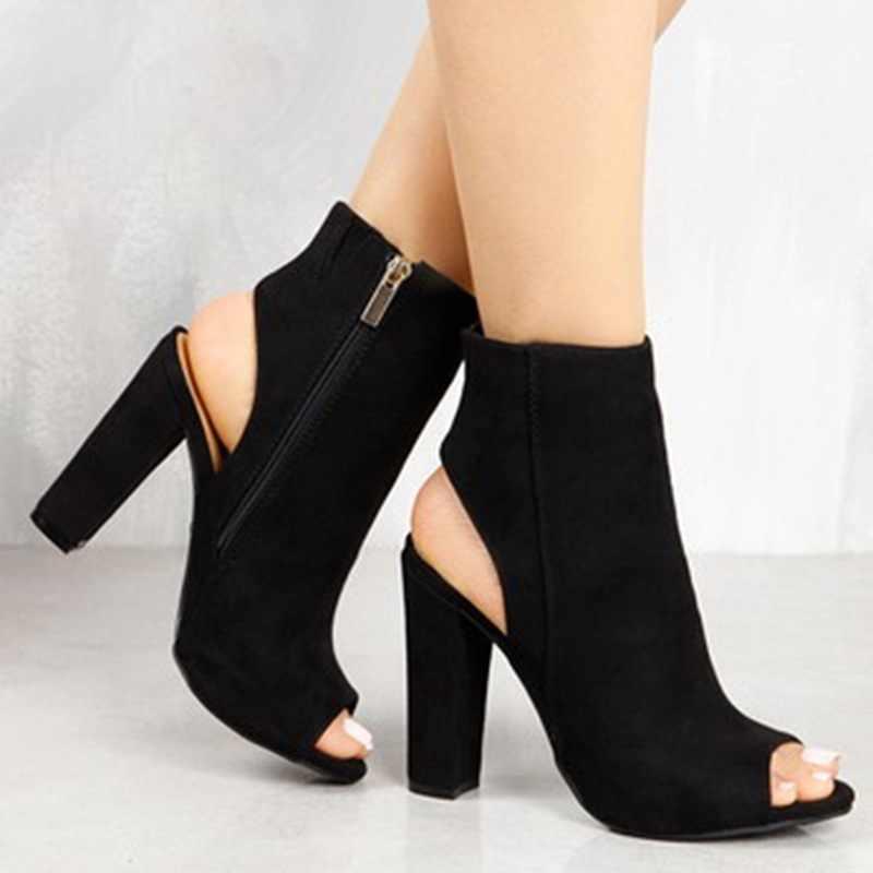 Klasik yarım çizmeler Faux Süet Deri Rahat Açık Peep Toe Yüksek Topuklu Fermuar Moda kare kauçuk siyah ayakkabı Kadınlar Için sandalet