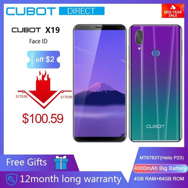"Cubot X19 Smartphone Helio P23 Octa-Core 5.93"" 2160*1080 FHD+ Display 4000mAh 4GB+64GB Face ID Type-C Twilight Free Gifts"