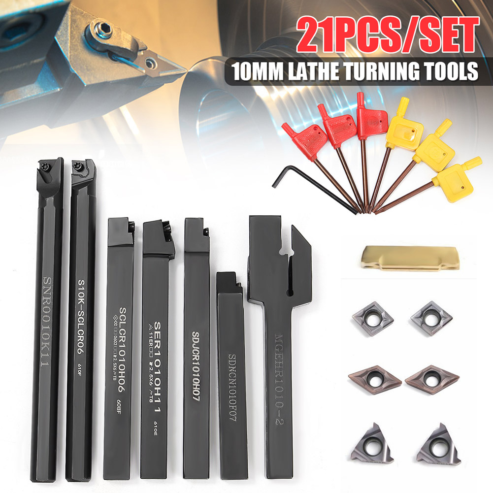 New Hot 1 Set 10mm Shank Lathe Turning Tool Holder Durable with Carbide Inserts Wrenches SMD66New Hot 1 Set 10mm Shank Lathe Turning Tool Holder Durable with Carbide Inserts Wrenches SMD66