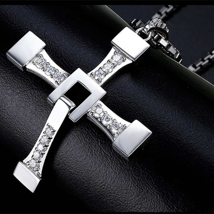 12 pcs lot Mimeng Fast and Furious 8 Cross Necklace Stainless Steel Necklace for Men