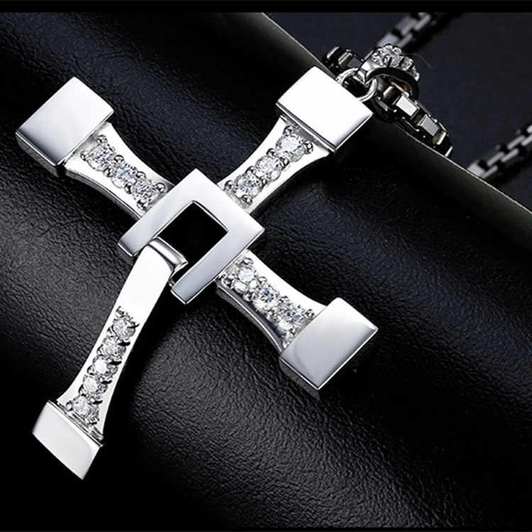 (12 pcs/lot) Mimeng Fast and Furious 8 Cross Necklace Stainless Steel Necklace for Men Dominic Toretto Cross Pendant Necklace