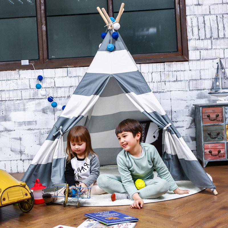 Play Tent For Kids Canvas Cotton Material Stripe Pattern Tipi Tent For Children Playhouse Indoor Teepee For Both Boys & Girls four poles kids play tent cotton canvas teepee children toy tent white pink blue playhouse for baby room tipi