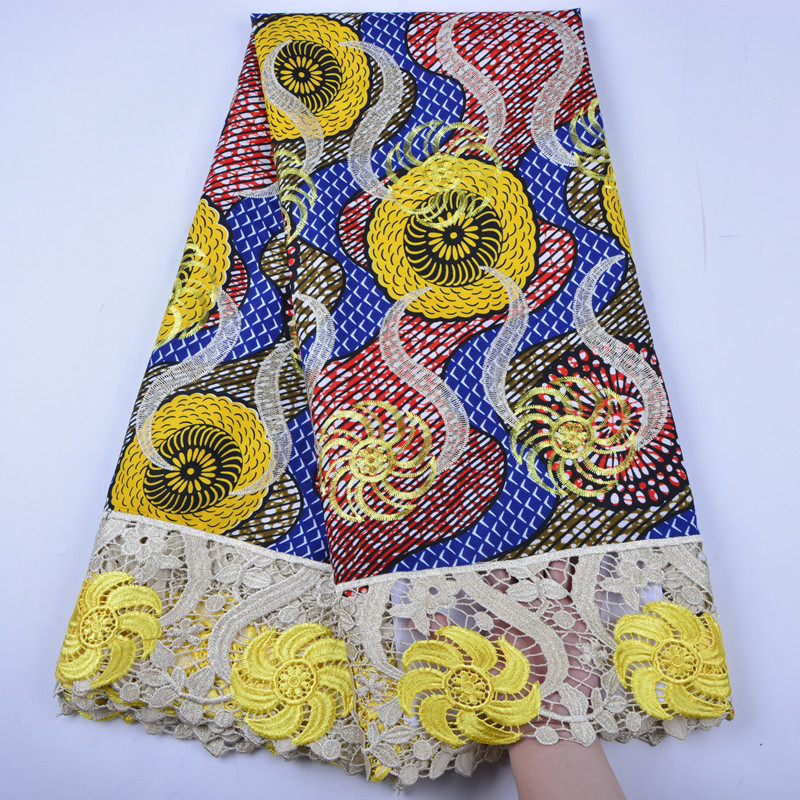 African Wax Print Fabric Embroidery Wax Lace For Clothes Cord Lace Guipure Lace Fabric For Wedding
