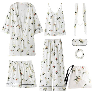 Image 2 - Yulan pajamas, spring, autumn, long sleeves, pure cotton, seven suits, kimono, robe, summer and winter sexy home clothes.