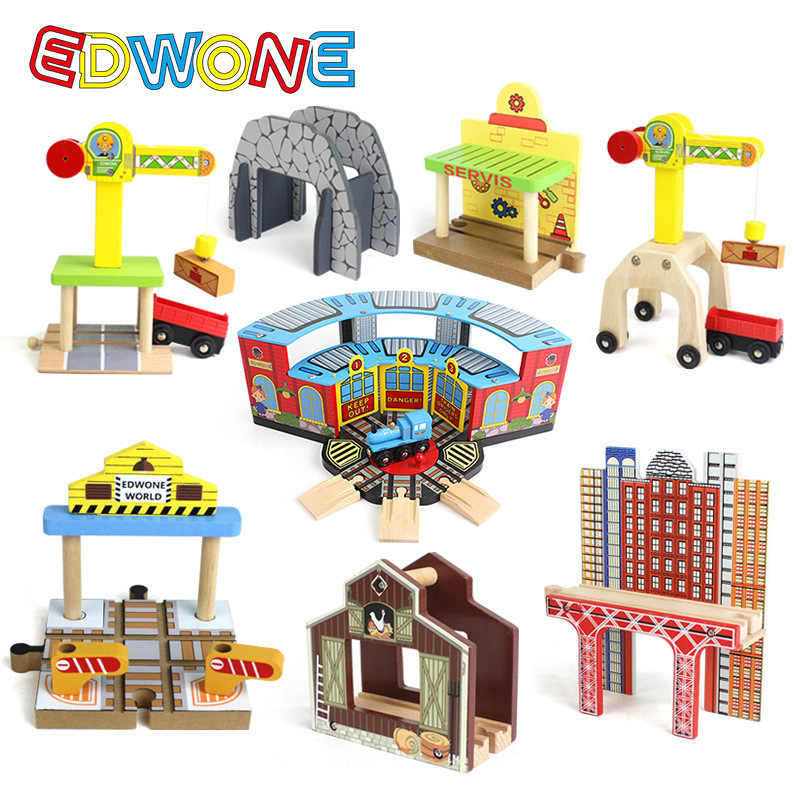 EDOWNE Wooden Railway Train Variety Track Accessories Rail Station Crosse Component Educational Toy Fit new Biro