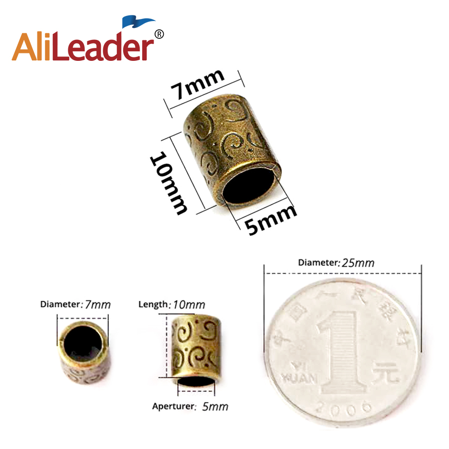 Alileader Mix Hair Braid Bread Dreadlock Beads Cuffs Clips Jewelry Antique Brass/ Red Copper Color For Hiar Tools