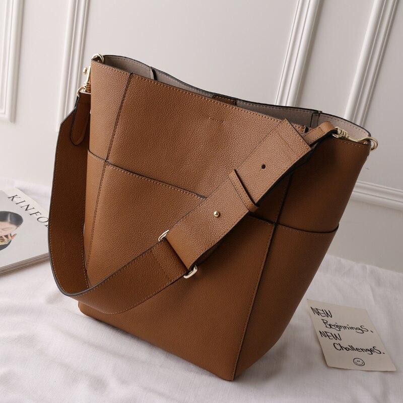 2018 Nouveau style Personnalisé Véritable Seau en cuir sac Magazine classique lychee bande vache sac à main occasionnel Grande taille femme sac