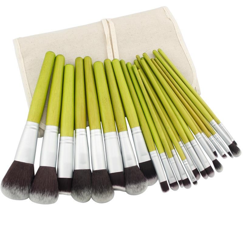New Professional 23 Pcs Makeup Brush Set Cosmetic Kit Bamboo Handle Foundation Powder Make up Brush Beauty Facial care+Bag