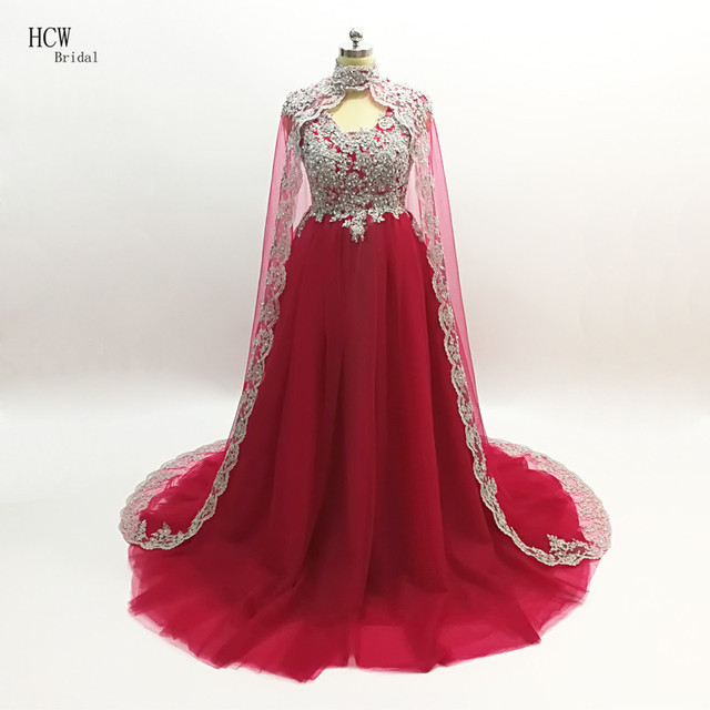 b746ac6285031 Arabic Evening Dress Graceful Burgundy Tulle A Line Long Evening Gowns With  Sliver Beaded Lace Custom Made Cloak Evening Dresses
