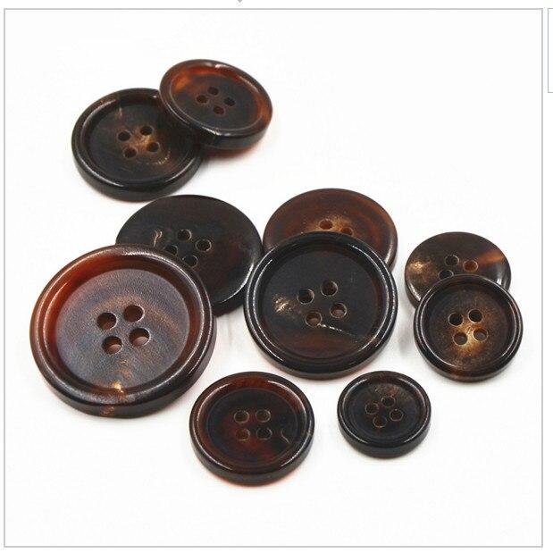 4 Holes Light Brown Jacket Coat Craft Genuine Buffalo Horn Flat Buttons 30mm*